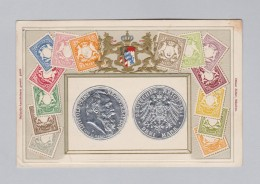 Motiv Münzen AK 1911-03-14 München DR 3 Mark Mit Bayern Briefmarken Prägelitho Ottmar Zieher - Monnaies (représentations)