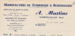 39:  Facture De La Tournerie & Boissellerie A.Martine à Clairvaux Les Lacs En...1947 - 1900 – 1949