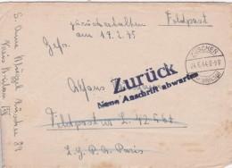 ALLEMAGNE 1944 LETTRE EN FRANCHISE MILITAIRE ZÜSCHEN - Lettres & Documents