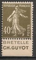 Timbre à Bande Publicitaire Type Semeuse N° 193.  40c Brun-olive. Réclame Pub Publicité Carnet. - Advertising