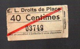 ( Lieu Indéterminé) Compagnie E.L. (?) Droit De Place 40 Ct (PPP3775) - Tram