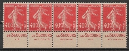 5 Timbres à Bande Publicitaire Type Semeuse N° 194.  40c Vermillon. Réclame Pub Publicité Carnet. - Werbung