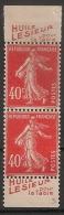 2 Timbres à Bande Publicitaire Type Semeuse N° 194.  40c Vermillon. Réclame Pub Publicité Carnet. - Advertising