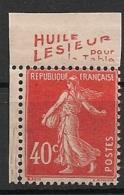 Timbre à Bande Publicitaire Type Semeuse N° 194.  40c Vermillon. Réclame Pub Publicité Carnet. Bord De Feuille - Advertising