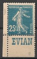 Timbre à Bande Publicitaire Type Semeuse N° 140.  25c Bleu. Réclame Pub Publicité Carnet. Bord De Feuille - Advertising