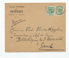 YPRES - Lettre TP Armoiries 1910 - Entete  Bibliothèques De La Ville D´ YPRES  --  WW964 - 1893-1907 Armoiries