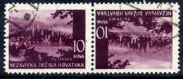 CROATIA 1941 Landscape Definitive 10 K. Tete-beche Pair, Used.  Michel 60K - Croatia