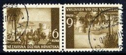 CROATIA 1941 Landscape Definitive 6 K. Tete-beche Pair, Used.  Michel 57K - Croatia