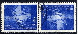 CROATIA 1941 Landscape Definitive 4K. Tete-beche Pair, Used.  Michel 54K - Croatia