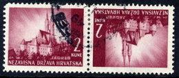 CROATIA 1941 Landscape Definitive 2K. Tete-beche Pair, Used.  Michel 52K - Croatia
