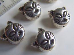 1 Perle Tête De Chat Argent De Bali Env. 0,7g 8x9mm - Perles