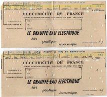 VP5307 - 2 Documents  De L´Electricité De France à PARIS  - Scan Recto / Verso - Electricity & Gas