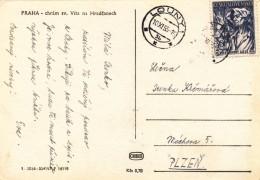 K8414 - Czechoslovakia (1955) Louny 1 (stamp: Trade Union Congress - Metallurgist) Tariff: 0,30 CSK (postcard: Prague) - Berufe