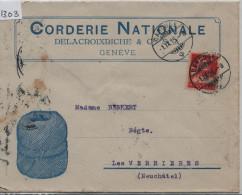 1915 Tell 126II - Cachet: Carouge Nach Verrieres - Illust. Corderie Nationale De La Croixriche & Cie. Geneve - Schweiz