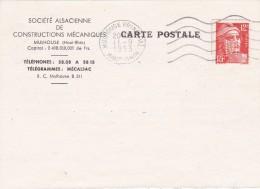 FRANCE  1953 LETTRE DE MULHOUSE TIMBRE PERFORE - Perforés