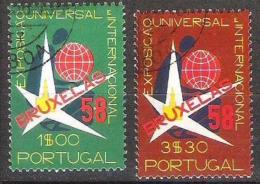 """Portugal 1958: Michel-No. 862-863 Mit O Der CTT-Lisboa  """"EXPO 1958 Bruxelles"""""""