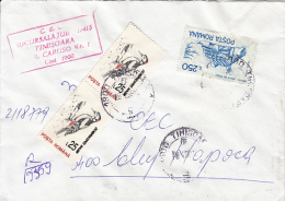 46459- WOODPECKER, HOTEL, STAMPS ON REGISTERED COVER, 1995, ROMANIA - 1948-.... Républiques