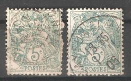 France 1900,5c,Green & Blue Green Variety,Scott 113,USED (0) FR-19 - 1900-29 Blanc
