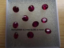 Lot De 1 Rubis Rouge Taille Ronde 4,5 Mm 0,545 Carat Pierre Précieuse Joaillerie Dit De Synthèse - Ruby