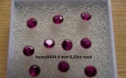Lot De 1 Rubis Rouge Taille Ronde 4 Mm 0,33 Carat Pierre Précieuse Joaillerie Dit De Synthèse - Ruby
