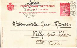 ENTIER - POUR LA CH - VILLY PRES OLLON- 1920 - - Lettres & Documents
