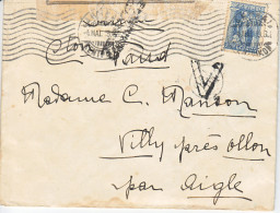 LETTRE CENSUREE -POUR LA SUISSE - VILLY PRES OLLON -  CENSURE HELENIQUE ET RRRR VIGNETTE AU DOS !! - 1919 - Lettres & Documents