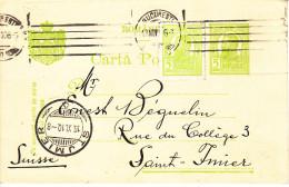 ENTIER - POUR LA SUISSE - ST IMIER - 1910 - VAL COMPLEMENTAIRE - Entiers Postaux
