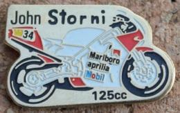 MOTO 125CM3 - MARLBORO - APRILLA - MOBIL -  N°34 - JOHN STORNI -                      (BLEU) - Motos
