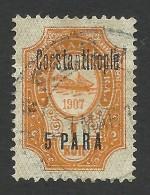 Russia, Offices In Turkey, Constantinople, 5 P. On 1 K. 1909, Sc # 61, Mi # 39IIa, Used - Turkish Empire