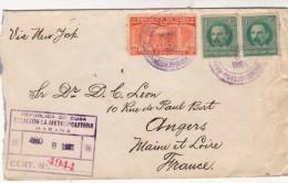 LETTRE 1931 CUBA RECOMMANDE HABANA  POUR LA FRANCE VIA NEW-YORK /  7623 - Cuba