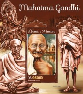 S. TOME & PRINCIPE 2016 - M. Gandhi, Ganesha S/S. Official Issue - Elephants