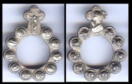 Médaille Religion Jésus Christ - La Vierge Marie AVE MARIA - Métal Argenté 4 Cm - Religion & Esotérisme