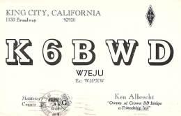 Amateur Radio QSL - K6BWD - King City, CA -USA- 1974 - 2 Scans - Radio Amateur
