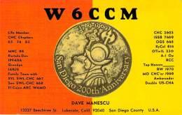 Amateur Radio QSL - W6CCM - Lakeside, CA -USA- 1974 - 2 Scans - Radio Amateur