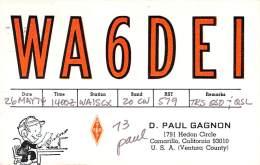Amateur Radio QSL - WA6DEI - Camarillo, CA -USA- 1974 - 2 Scans - Radio Amateur