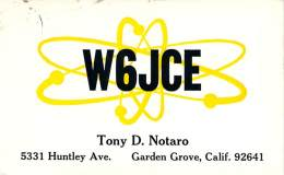 Amateur Radio QSL - W6JCE - Garden Grove, CA - 1974 - 2 Scans - Radio Amateur