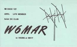 Amateur Radio QSL - W6MAR - Solana Beach, CA -USA- 1973 - 2 Scans - Radio Amateur