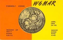 Amateur Radio QSL - W6MAR - Solana Beach, CA -USA- 1974 - 2 Scans - Radio Amateur