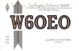 Amateur Radio QSL - W6OEO - Los Angeles, CA -USA- 1975 - 2 Scans - Radio Amateur