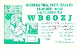 Amateur Radio QSL - WB6OZJ - Mountain View, CA -USA- 1974 - 2 Scans - Radio Amateur