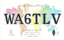 Amateur Radio QSL - WA6TLV - Tarzana, CA -USA- 1974 - 2 Scans - Radio Amateur