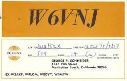 Amateur Radio QSL - W6VNJ - Manhattan Beach, CA -USA- 1975 - 2 Scans - Radio Amateur