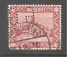 Perfin/perforé/lochung Saargebiet YT  No 97 GG  Gebrûder Gans Und Co  Saarbrücken - Territoires Soumis à Plébiscite