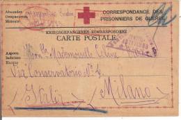PRIGIONIERI DI GUERRA ITALIANI-STAMMLAGER MAUTHAUSEN-AUSTRIA-1916-TIMBRO CROCE ROSSA, FRANCHIGIA,PER MILANO - 1914-18