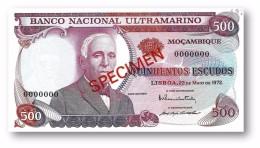 MOZAMBIQUE - 500$00 ESCUDOS - SPECIMEN - Unc. - 23.05.1972 - P 114 S - GAGO COUTINHO E SACADURA CABRAL - Mozambique