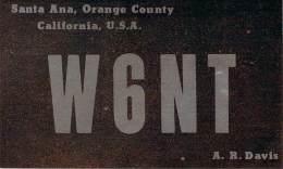 Amateur Radio QSL - W6NT - Santa Ana, CA -USA- 1975 - 2 Scans - Radio Amateur