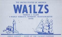 Amateur Radio QSL - WA1LZS - Newbury, MA -USA- 1975 - 2 Scans - Radio Amateur