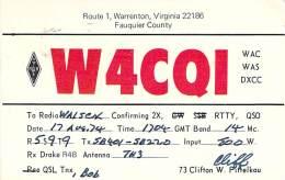 Amateur Radio QSL - W4CQI - Warrenton, VA -USA- 1974 On RTTY - 2 Scans - Radio Amateur