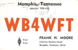 Amateur Radio QSL - WB4WFT - Memphis, TN -USA- 1974 - 2 Scans - Radio Amateur