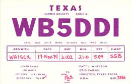 Amateur Radio QSL - WB5DDI - Houston, TX -USA- 1974 - Radio Amateur